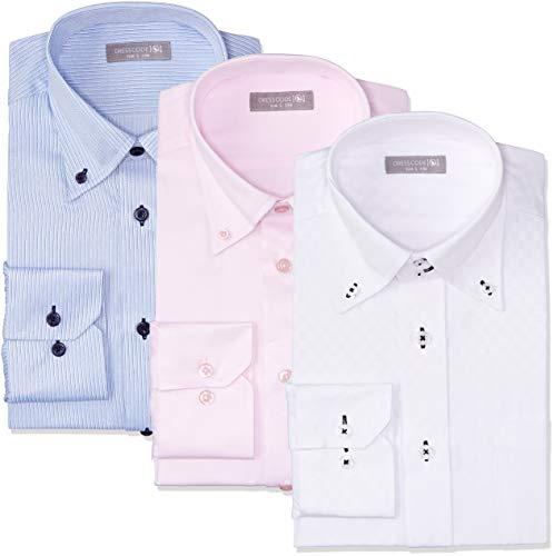 [ドレスコード101] 形態安定 ワイシャツ 長袖3枚セット 豊富なサイズでピッタリがみつかる デザイン ビジカジ おしゃれ カッターシャツ SHIRT-Z3SET メンズ 12 ビジカジ対応ボタンボタンセット 首回り43cm裄丈86cm