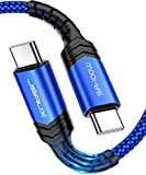 USB C to USB C 100W Cable 10ft, JSAUX USB Type C Fast Charging Charger Cord Compatible with MacBook Pro 2020 2019 2018, iPad Air 4, iPad Pro 2020 2018, Galaxy S21 S20 Ultra Note 20 10, etc-Blue