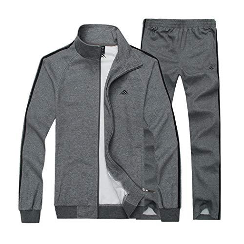 Sun Lorence Men's Casual Sweat Suit Set Full Zip Tracksuit for Jogging Running Sports Darkgrey L