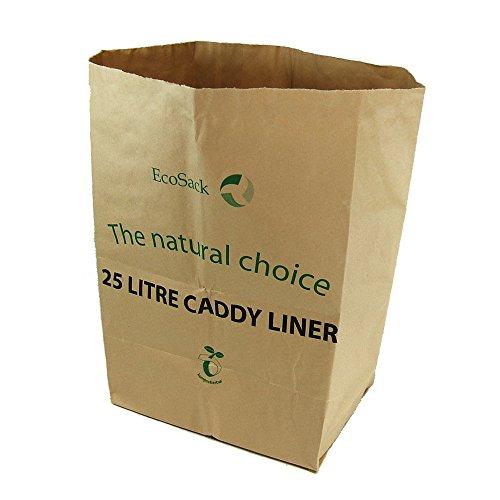 All Papier kompostierbar bis Bordsteinkante Caddy Müllbeutel, braun, 25Liter, 10Stück