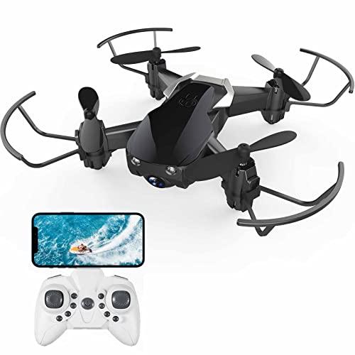 DOMIBOT Mini Drone con Cámara HD 720P WiFi FPV Modo de Retención de Altitud RC Drone Quadcopter RTF WH163 (1 Batería)