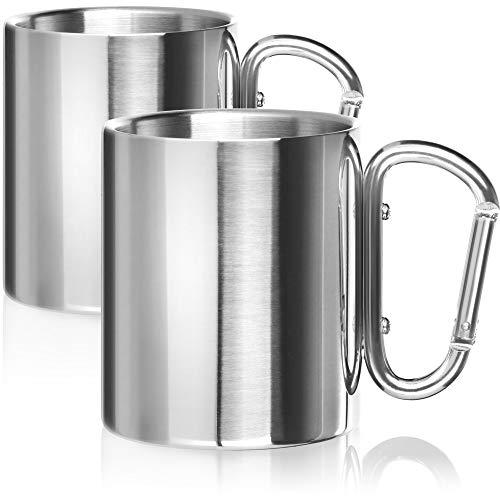 Robin Goods® 2X Tazas térmicas de Acero Inoxidable con Asas de mosquetón Tazas Termo para Beber de Acero Inoxidable cafetera (Acero Inoxidable - 2 Piezas con Mango de mosquetón)