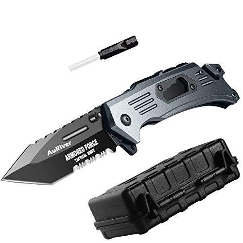 pas cher un bon Couteau pliant ultra-tranchant 6 en 1 avec lame en acier inoxydable revêtu de titane, couteau de poche…
