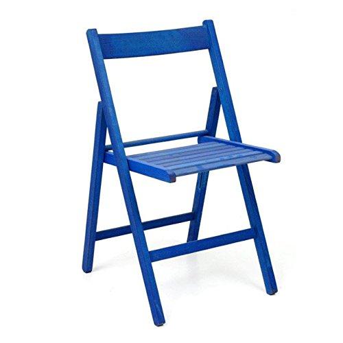 Sedie pieghevoli in legno di faggio 6 Pz colore blu chiudibile a libro