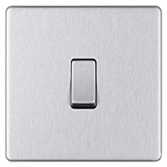 SCREWLESS SLIM LINE BRUSHED STEEL SINGLE LIGHT SWITCH: From BG Electrical Nexus at Luceco, has softly rounded corners with a screwless flat plate– giving a clean look that exudes modern elegance PART OF THE NEXUS METAL RANGE: The light switch has a s...