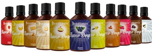 Foodtastic Flavor Drops Range Bundle mit 11 Sorten   Flavdrops Aroma Tropfen   Quark, Wasser oder Porridge kalorienfrei Süßen   vegan, glutenfrei und ohne Zucker
