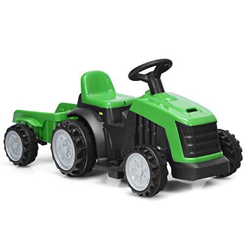 COSTWAY Tractor Infantil con Remolque Desmontable...