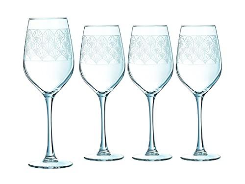 Creatable, 22623, serie PARADISIO, copas de vino, 4 piezas, cristal, 350 mililitros