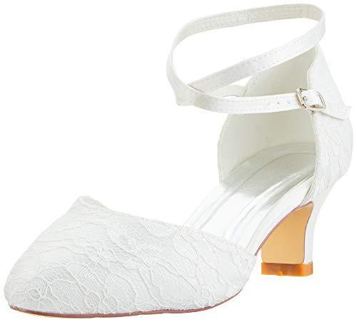 Mrs White Damen Brautschuhe 00967A Geschlossene Zehen Chunky Heel Spitze Satin Pumps Hochzeitsschuhe, Elfenbein, 38 EU