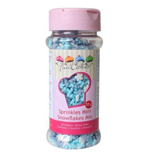 FUNCAKES Mini Schneeflocken Mix 50g, Weiß, 0, 2