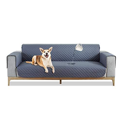 PETCUTE Sofa cover 2 zits gewatteerde bankbeschermer waterdichte Zitbreedte Tot 54 inch anti-slip cover voor bank Grijs
