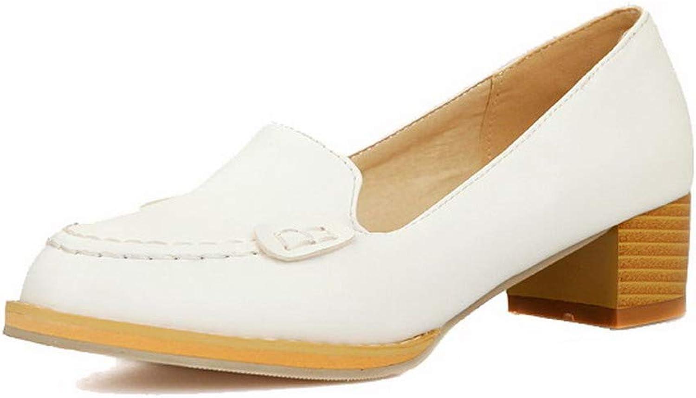 AmoonyFashion Women's Low-Heels Pu Solid Closed-Toe Pumps-shoes, BUSDS002144