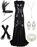 Dancing Stone 1920s Sequin Mermaid Formal Long Flapper Gown Party Evening Dress, Black, Small (Apparel)