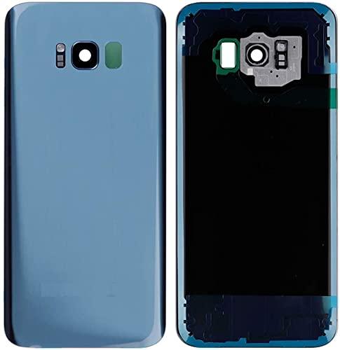 KIT 3 Pezzi Copri Batteria + biadesivo + lente compatibile per SAMSUNG GALAXY S8 Plus G955F G955 S8+ Vetro Posteriore Cover Retro Scocca adesivo + lente obbiettivo CAMERA (Blu)
