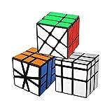 Cooja Cubo Mágico Paquete, Formas Irregulares Speed Cube Square 1 + Fenghuolun + Espejo, Profesional Cubo de Velocidad