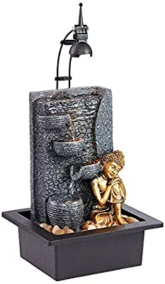 """John Timberland Kneeling Buddha Asian Zen Indoor Table-Top Water Fountain with Light LED 17"""" High Cascading for Table Desk Home Office Bedroom Relaxation"""