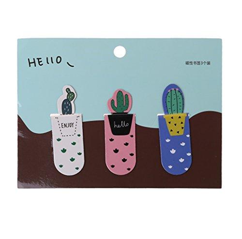 Baiyao 3 pezzi Design creativo Segnalibri in con magnetico cactus Segnalibro scuola ufficio cancelleria(Stile casuale)