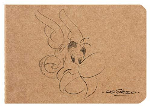Clairefontaine 812940C - Un carnet ''mot de passe'' ''Astérix Crayonnés Kraft'' de 32 pages pré-imprimées ivoire 10,5x7,4 cm, couverture kraft visuel aléatoire