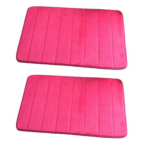 2 Stück Badematte Memory Foam Teppich Küche Badezimmer saugfähig rutschfest Matte Rose Rot