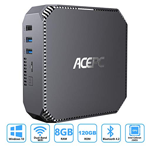 ACEPC Mini PC Windows 10 Pro, 8GB RAM 120GB ROM Intel Celeron J3455 Prozessor Mini Computer...