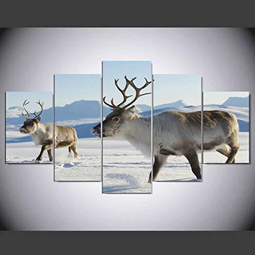 WGWNYN 5 Piezas de Pintura en Lienzo HD Pintura The Deer In The Snow Modular para Dormitorio Decorativo Moderno Sala de Estar Decoración de Arte de Pared para el hogar Sin Marco 20x30 20x40 20x50cm