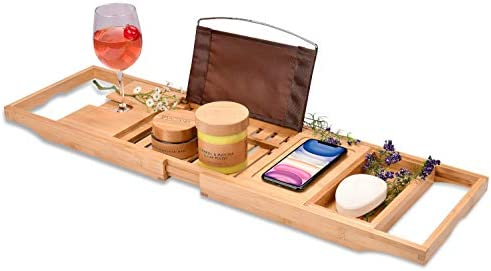 Bamboo Bathtub Tray Perfect Expandable Bathtub Caddy with Reading Rack or Tablet Holder This product image