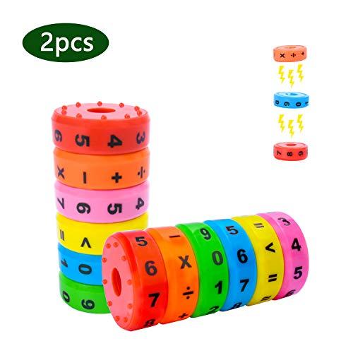 EKKONG 2pcs Mathematik Lernspielzeug, Rechnen Lernen SpielzeugMagnetisches Mathe Lernen Rechnen Spielzeug DIY Puzzles für Kinder Vorschule Pädagogisches Plastikspielzeug