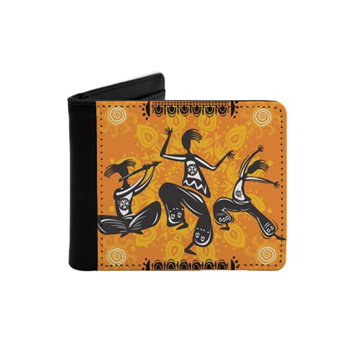 Cartera Delgada de Cuero para Hombre,Figuras de Bailarina Africana nativa con articulaciones de Cuerpo Total Poly Rhythm,Cartera Minimalista con Bolsillo Frontal Plegable