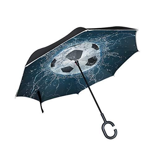 Fútbol de Agua Que Cae a Prueba de Viento con manija en Forma de C Sombrilla de Patio Sombrilla de Exterior para automóvil Sombrilla Invertida de Lago