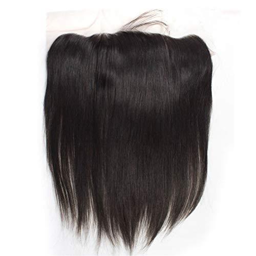 Cheveux humains réels, Extension de cheveux en ligne droite frontale de fermeture de cheveux humains longue perruque de cheveux raides Mesdames Sexy longue perruque élégante (Size : 10 free part)