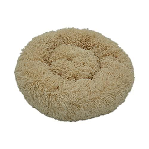 LBWNB Cama de perro súper suave para gato, sofá de felpa, felpa, felpa, camas para perros, camas, casas y mascotas, cojín redondo, el mejor dropshipping al por mayor (color: beige, tamaño: 70 cm)