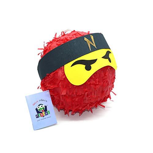 Ninja Pinata - Ideal für die Ninja Party - Pinata Geschenk - Pinata Geburtstag - Farbe zur Auswahl: grün, schwarz, blau, rot (rot)