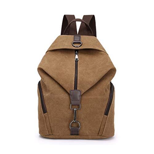 Yidarton Damen Leinwand Rucksack Canvas Schulrucksack Reisetasche Outdoor Schule Backpack (Brown#1)