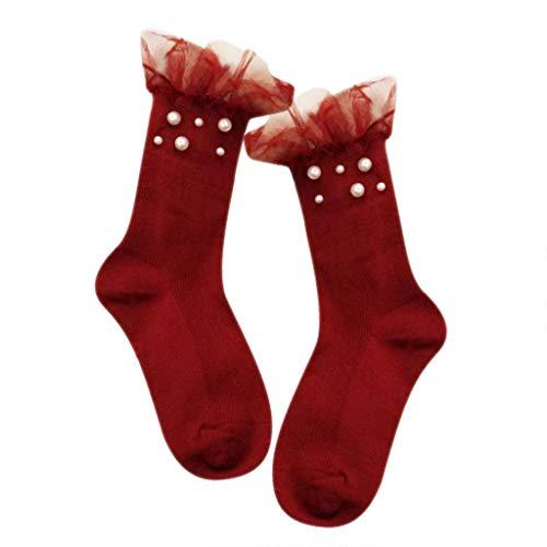ZZBO Streifen Rohr Socken Mädchen Pile Heap Socken mit Spitze Rüschen und Perle Sweat Absorbierende Ankle Socks Japanese Style Pile Socken Cosy Baumwollesocken