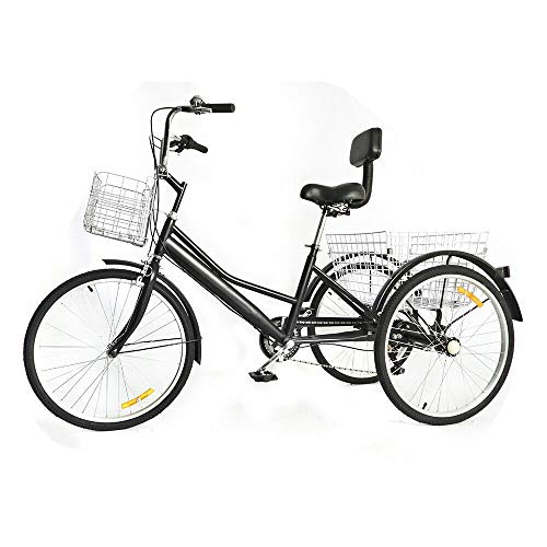 24 Zoll Dreirad FüR Erwachsene 3 Rad 7 Geschwindigkeit Fahrrad Tricycle Adult Trike Shopping Mit Waren Korb Fahrrad