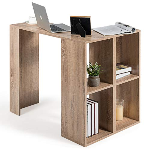 COSTWAY L-förmiger Schreibtisch mit Bücherregal, Eck-Computertisch mit stabilem Holzgestell, Büroschreibtisch Arbeitstisch Bürotisch PC-Tisch