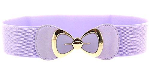 X&F Women's Elegant PU Bowknot Stretch Wide Belt Dress Decorative Waistbelts Light Purple