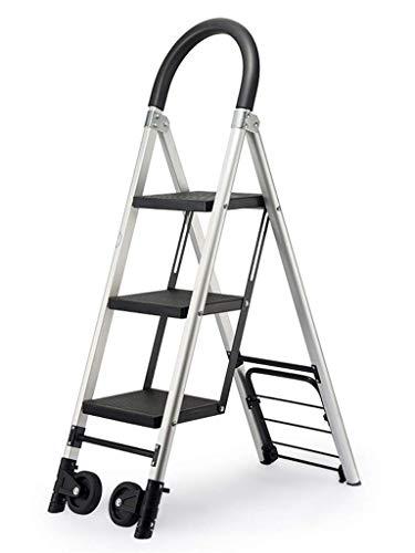 GQQ Leitern, zusammenklappbar, Rollleiter, Familien-3–4 Stufen, Multifunktions-Handlauf-Leiter, Aluminium-Legierung, leichte Leiter, Rollleiter, Leiter, 36 x 76 x 120 cm, 36 x 76 x 120 cm