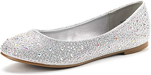 DREAM PAIRS Women's Sole-Shine Silver Rhinestone Ballet Flats Shoes - 6 M US