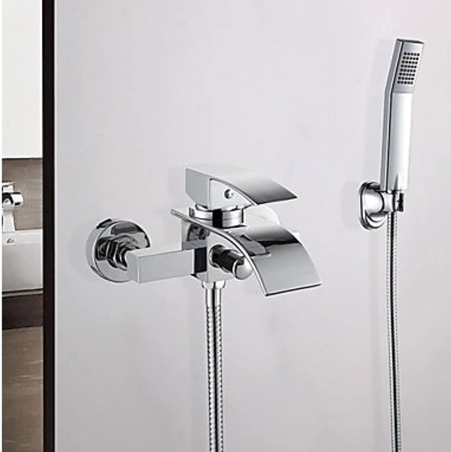 Contemporary Wall Mounted Waterfall Handshower Included Ceramic Valve Two Holes Single Handle Two Holes Chrome , Bathtub Faucet