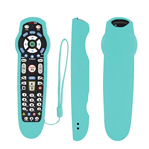 Protective Silicone Remote Case for Verizon FiOS 2-Device-in-1 Version Ver 2/3/4/5 RC2655007/01 Shockproof Washable Skin-Friendly Remote Control Cover with Loop (Glow in Dark Blue)