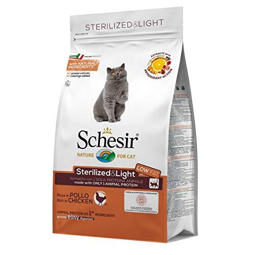 Schesir Cat Sterilized Huhn, Katzenfutter trocken für sterilisierte Katzen, Trockenfutter im Beutel, 1er Pack (1 x 400 g)