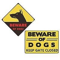 CLISPEED 2パックの庭の警告サイン、犬のサインに注意してゲートを閉じてください-屋内または屋外でのブリキサインの使用