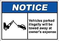 アートサインティンメタルサイン、不法に駐車された車両は牽引されます、ヴィンテージルック複製メタルサインホームウォールアートデコレーションポストプラーク女性男性用