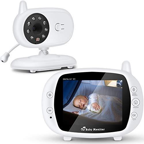 """SaponinTree Baby Monitor, Videocamera Babyphone con 3.5\"""" Schermo LCD, Audio Telecamera con Citofono,Digitale Videocamera, Audio Bidirezionale,Visione Notturna, Monitor Termico, Ninne Nanne per Bambino"""