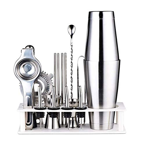 21pcs Stainless Steel Cocktail Shaker Mixer Wine Martini Boston Shaker Set Barware Kit For Bartender Drink Party Bar Tools