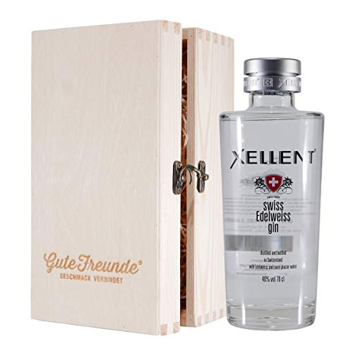 Xellent Edelweiss Gin mit Geschenk-Holzkiste
