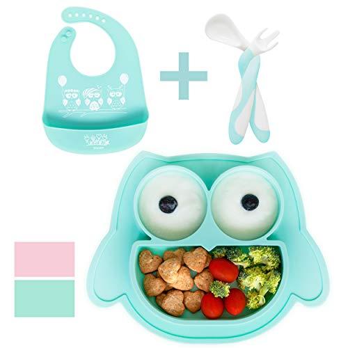 Brunoko Vajilla infantil Set de Plato bebe ventosa + cuchara silicona bebé + Babero Silicona 3 en 1- Vajilla Bebé Antideslizante - Utensilios Infantiles Aprendizaje BLW - Diseñado en España (Azul)