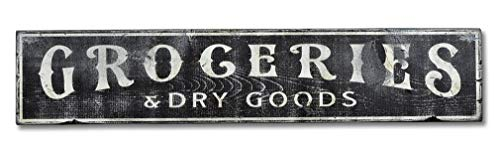 HarrodxBOX Groceries & Dry Good Distressed Sign Metal Sign for Home Wall Art Decor Post Plaque for Women Men