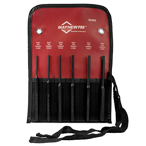 Mayhew Pro 62080 Metric Pin Punch Kit, 6-Piece